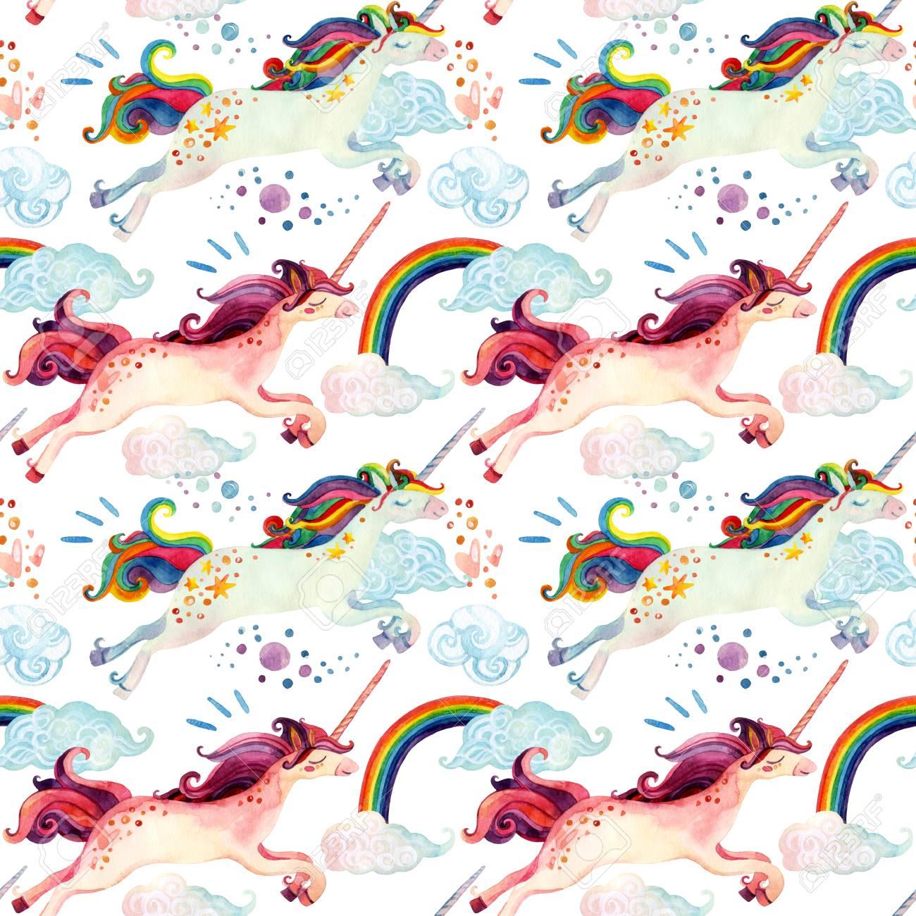 Acuarela Unicornio Sin Patrón. Cuento De Hadas De La Acuarela Con ...