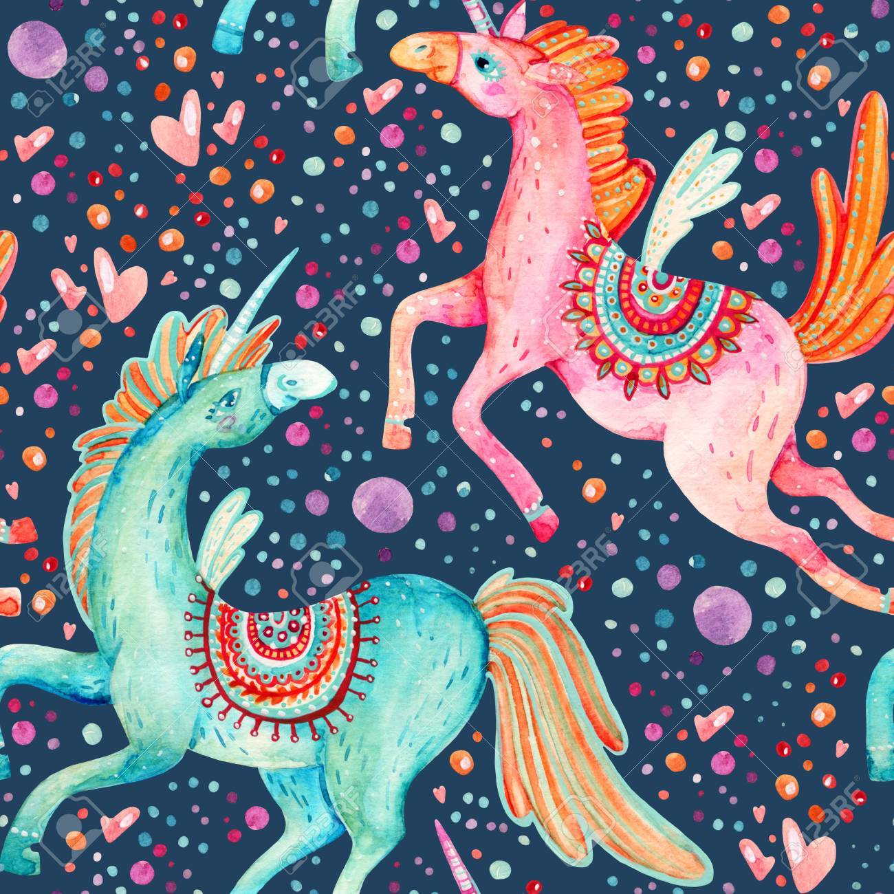 Watercolor Pair Of Flying Unicorns Seamless Pattern On Background