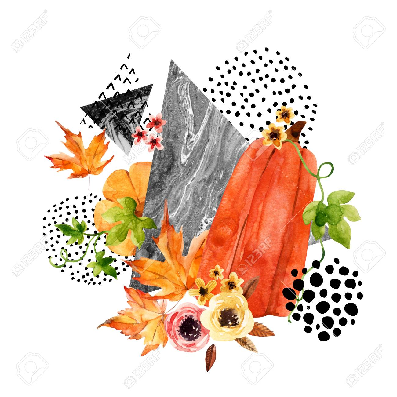 Autumn Watercolor Background With Leaves, Pumpkin, Triangles ...