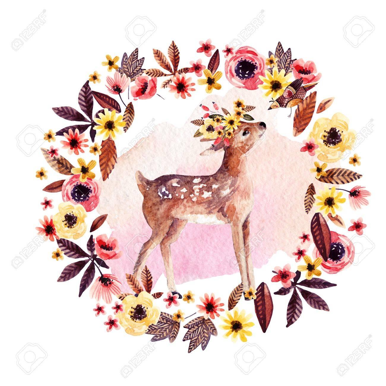Cerf Aquarelle Faon Parmi Les Fleurs Isolées Sur Fond Blanc Mignon Bébé Dessin Dans Le Style De Dessin Animé Illustration Peinte à La Main Pour