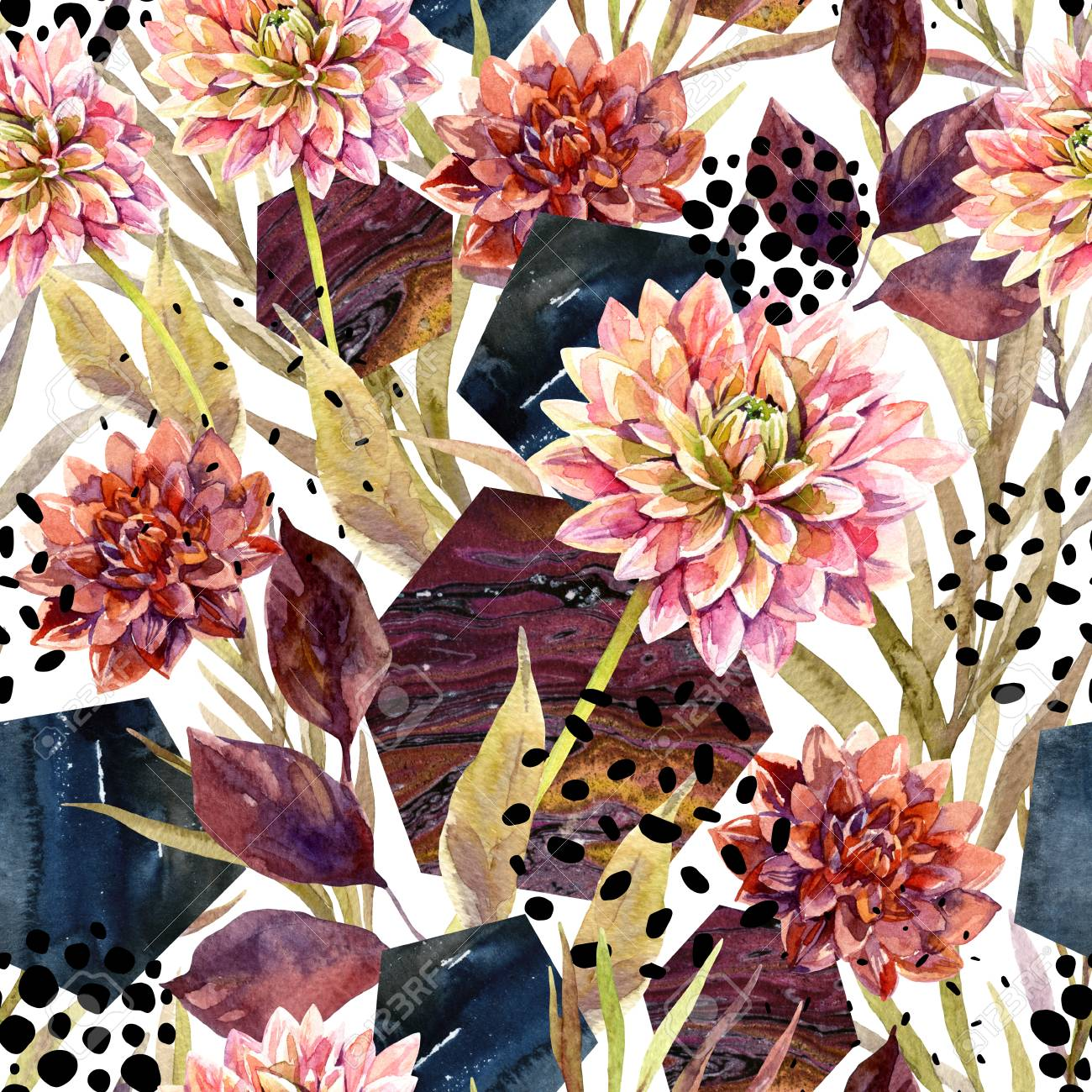 Autumn Watercolor Floral Arrangement Seamless Pattern Background