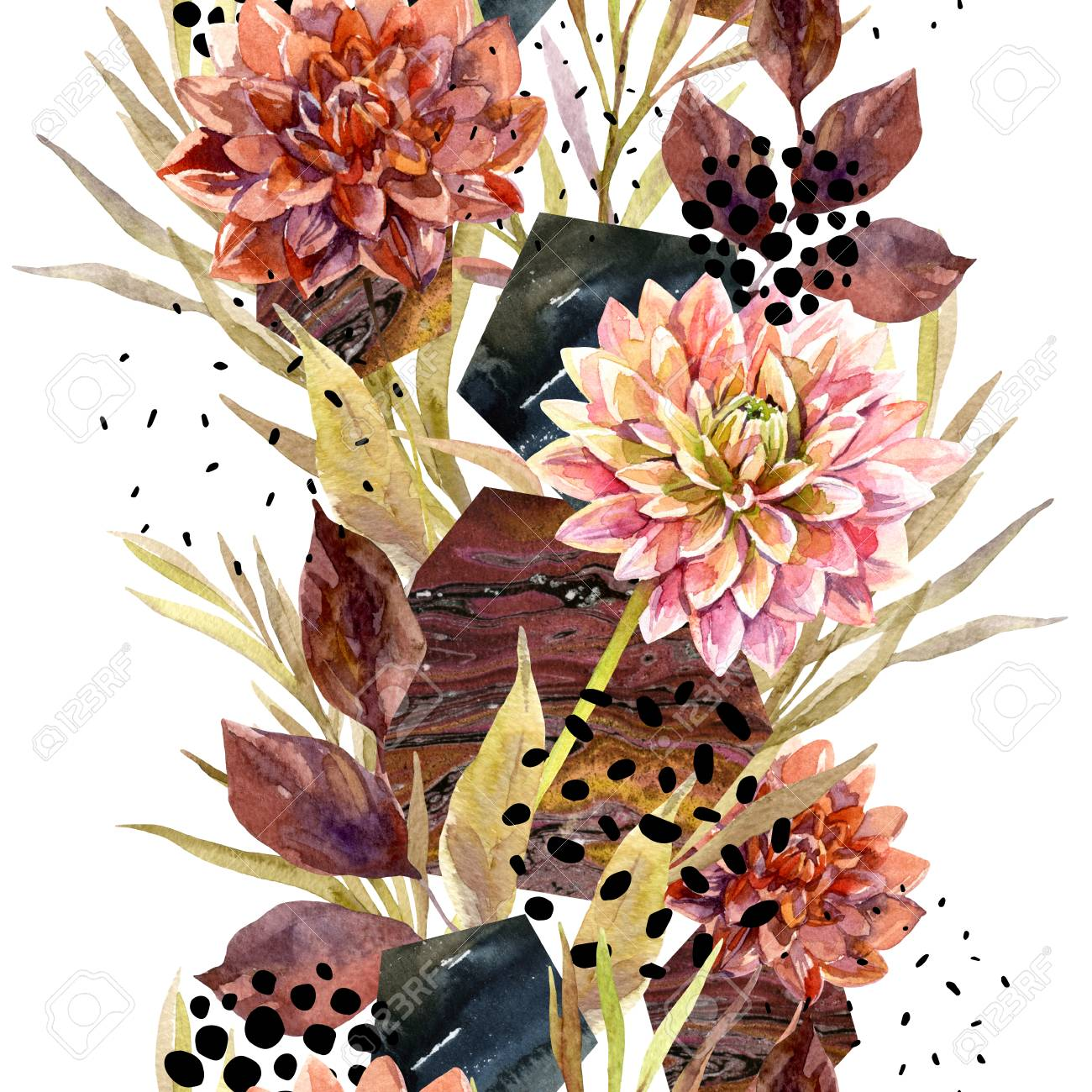 Autumn Watercolor Floral Arrangement Background With Flowers