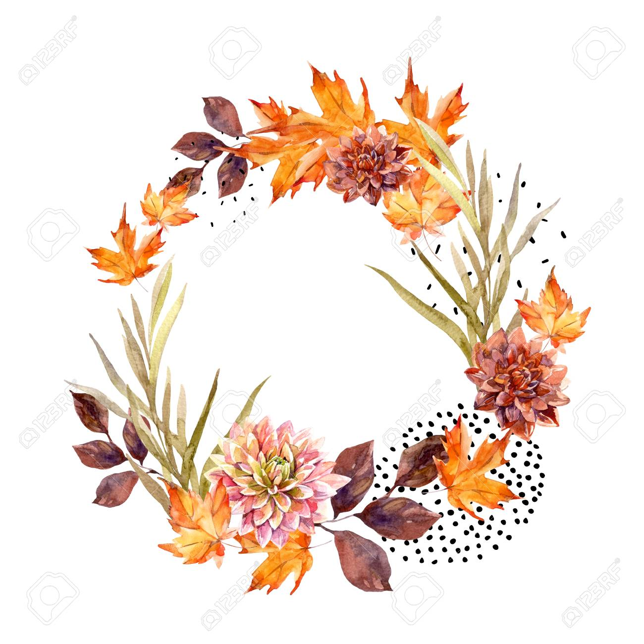 Autumn Watercolor Wreath On Splash Background With Flowers Leaves