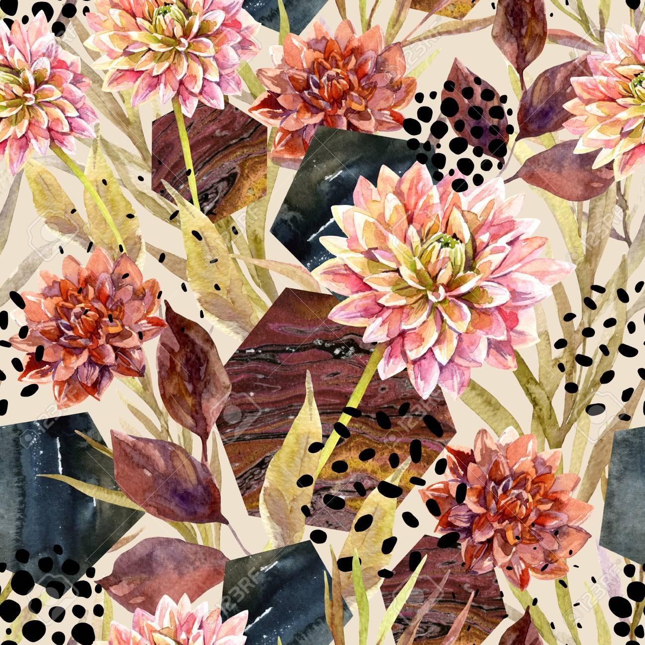 Acuarela Arreglo Floral De Otoño De Patrones Sin Fisuras Fondo Con Flores Hojas Hexágono Círculos Llenos De Textura Veteada Mano Dibuja La