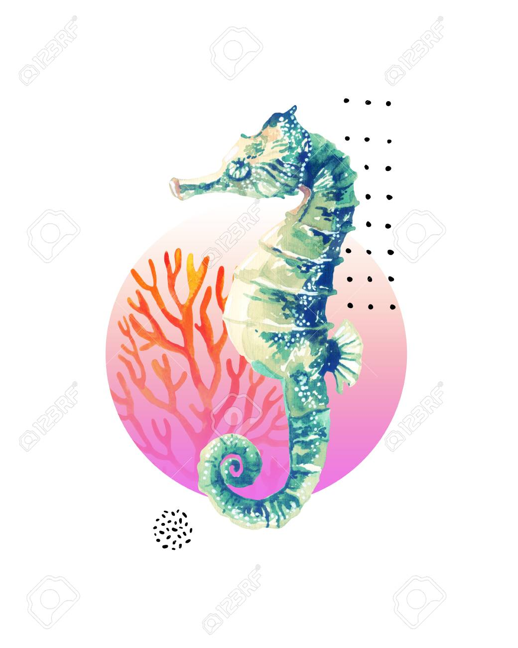 Watercolor Seahorse Coral Reef In Gradient Colored Circle With Stock Photo Picture And Royalty Free Image Image 108606299