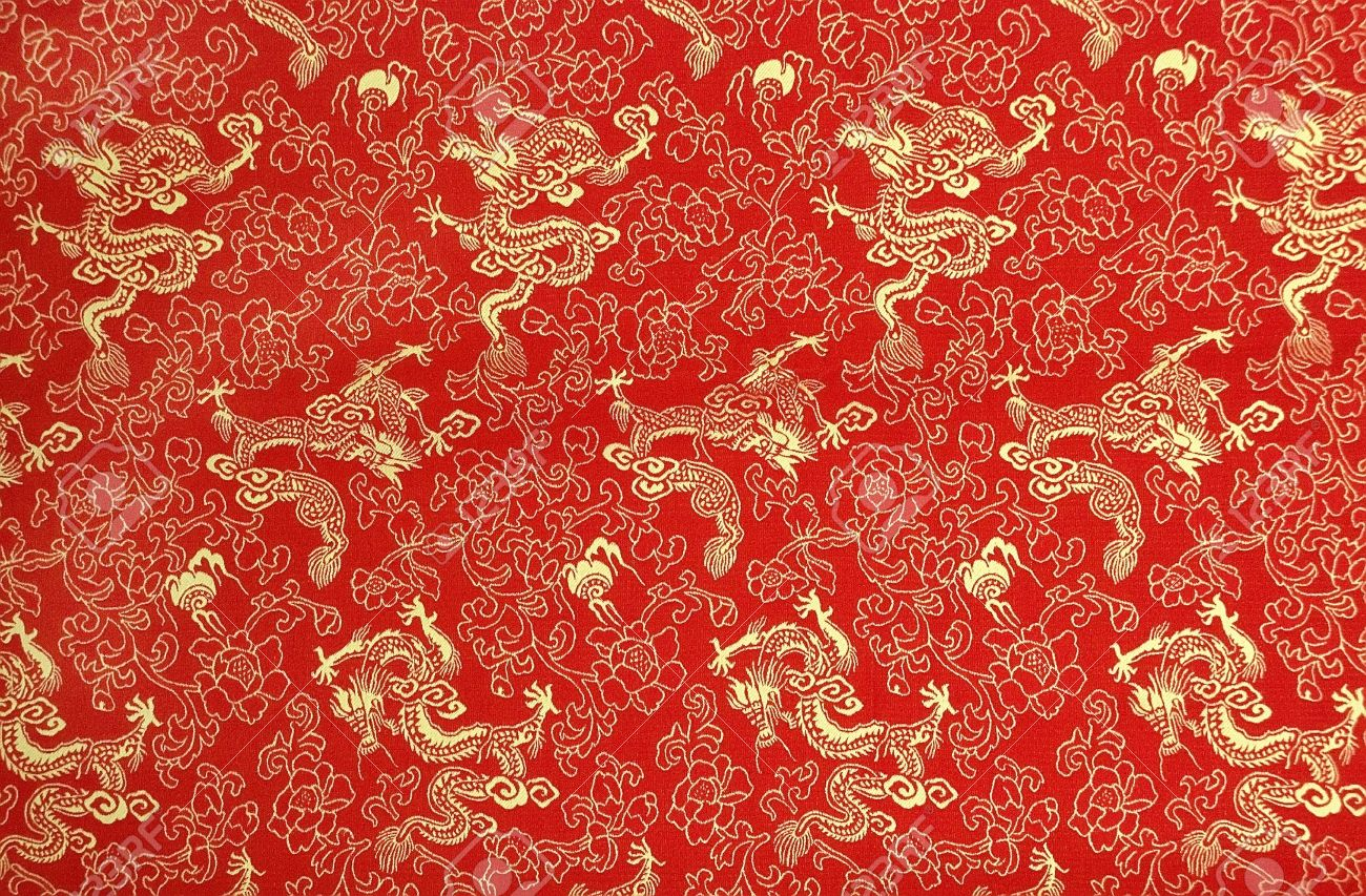 e236fc5ce Fragment of red chinese silk with golden dragons and flowers Stock Photo -  7339591