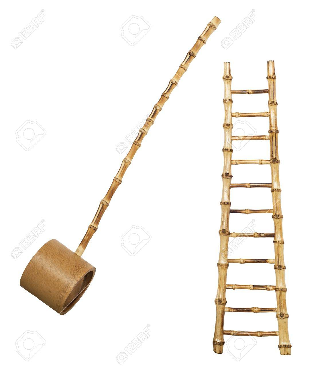 Charmant Bamboo Stairs And Ladle Isolated On White Background Stock Photo   17695187