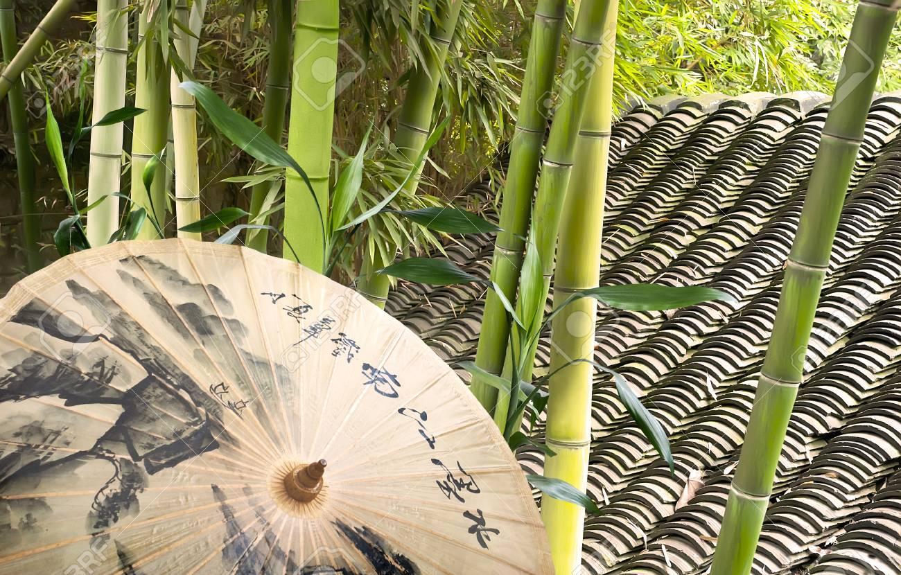 Piastrelle Verdi Per Giardino : Immagini stock umbrella bambù verde e tetto di piastrelle in