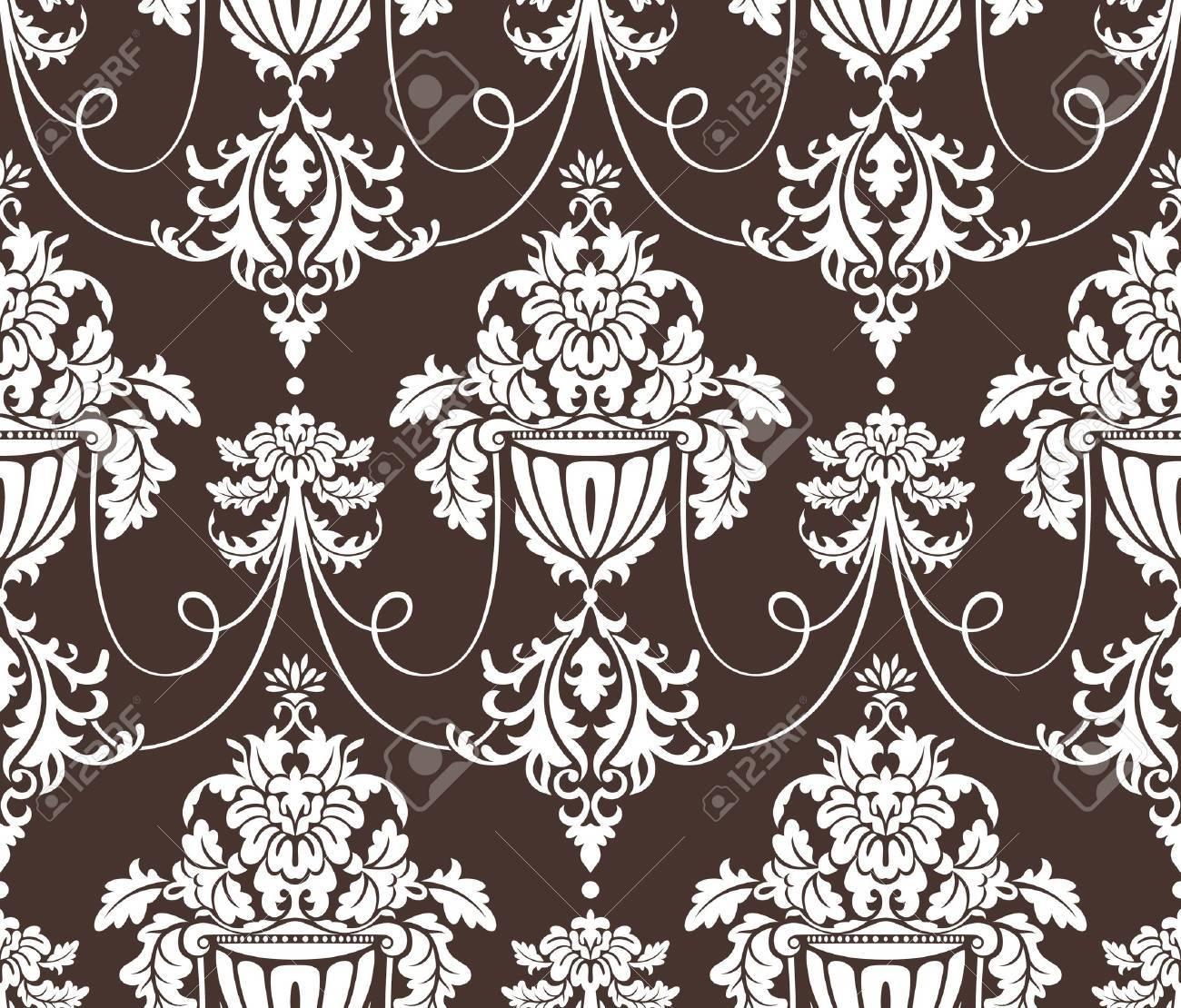 seamless damask wallpaper vector illustration Stock Vector - 9177542