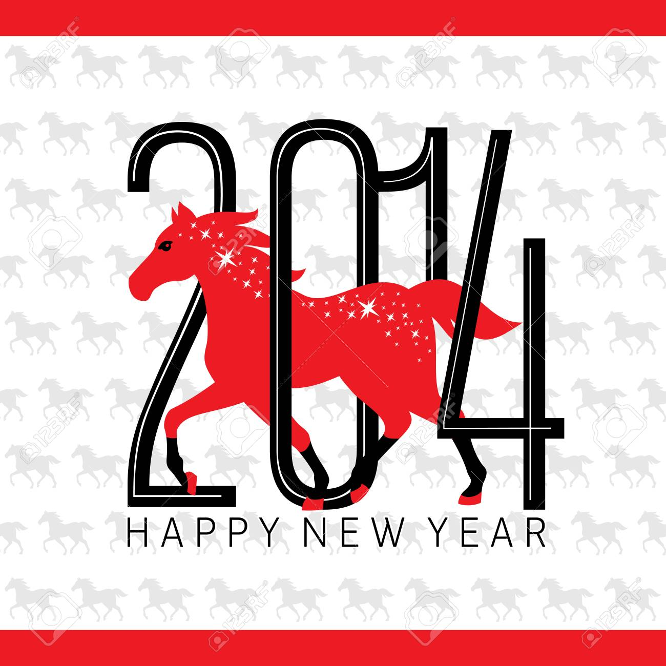 Year of the horse card vector illustration Stock Vector - 23063658