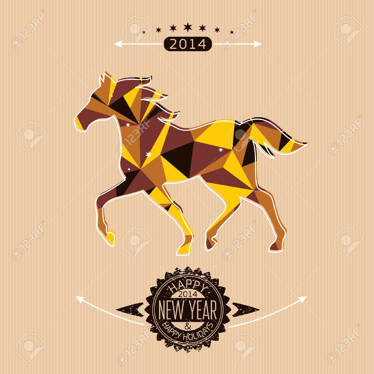New year card with stylized geometric horse vector illustration Stock Vector - 23063709