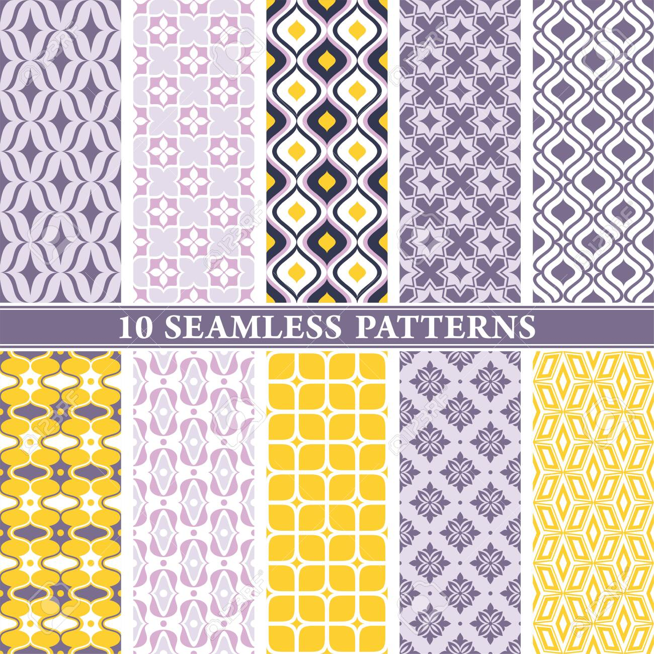 Seamless wallpaper patterns. Vintage and modern color background with geometric and floral elements. Vector illustration. - 151097785