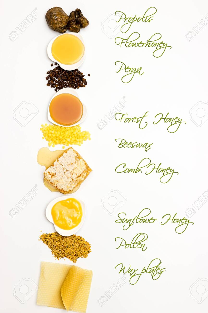 Small list of different bee products on white background with label - 132646739