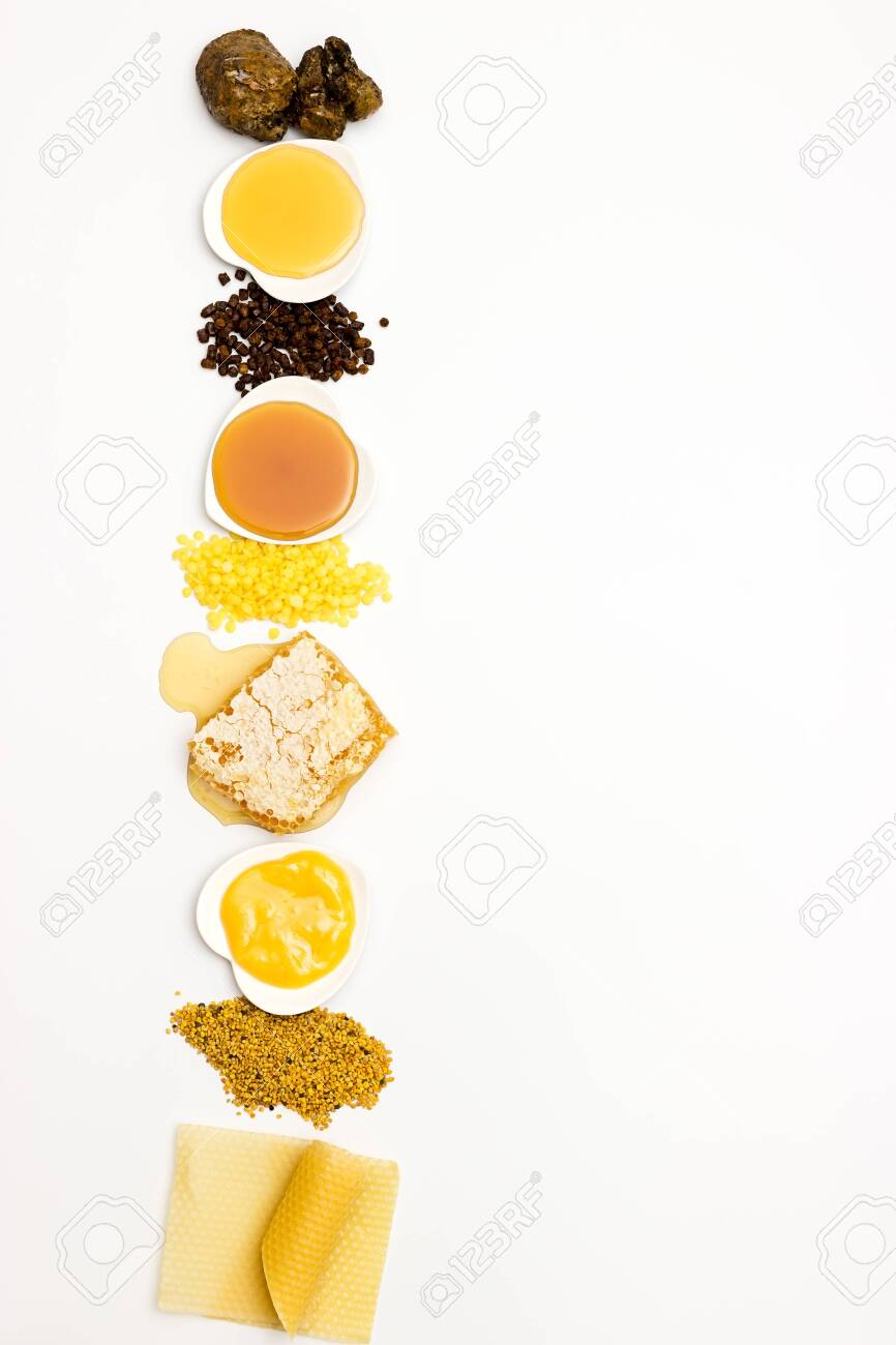 Various varieties of bee products on a white background - 132646749