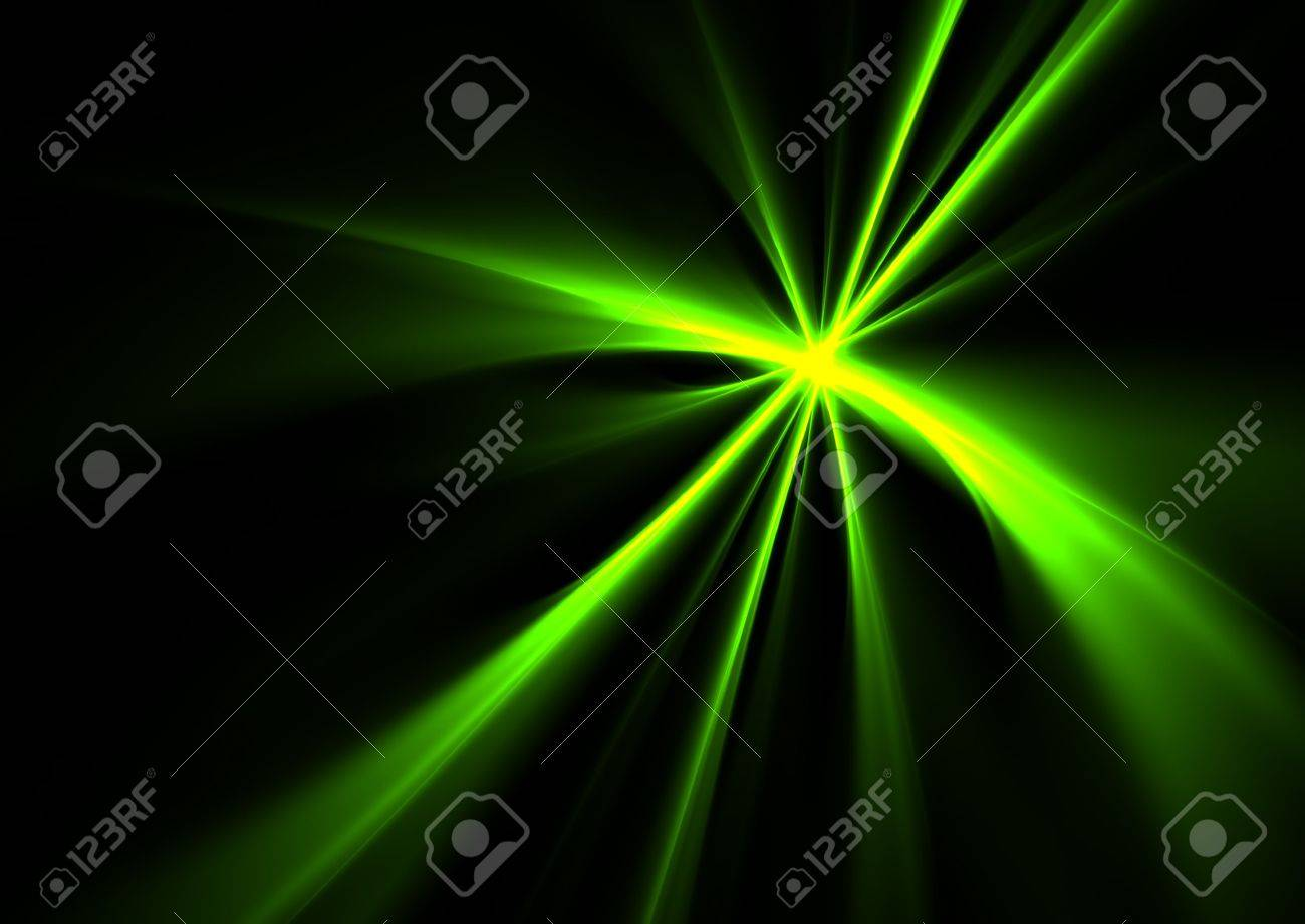 Green rays on black background- beautiful 3D rendered fractal. Stock Photo - 5369104