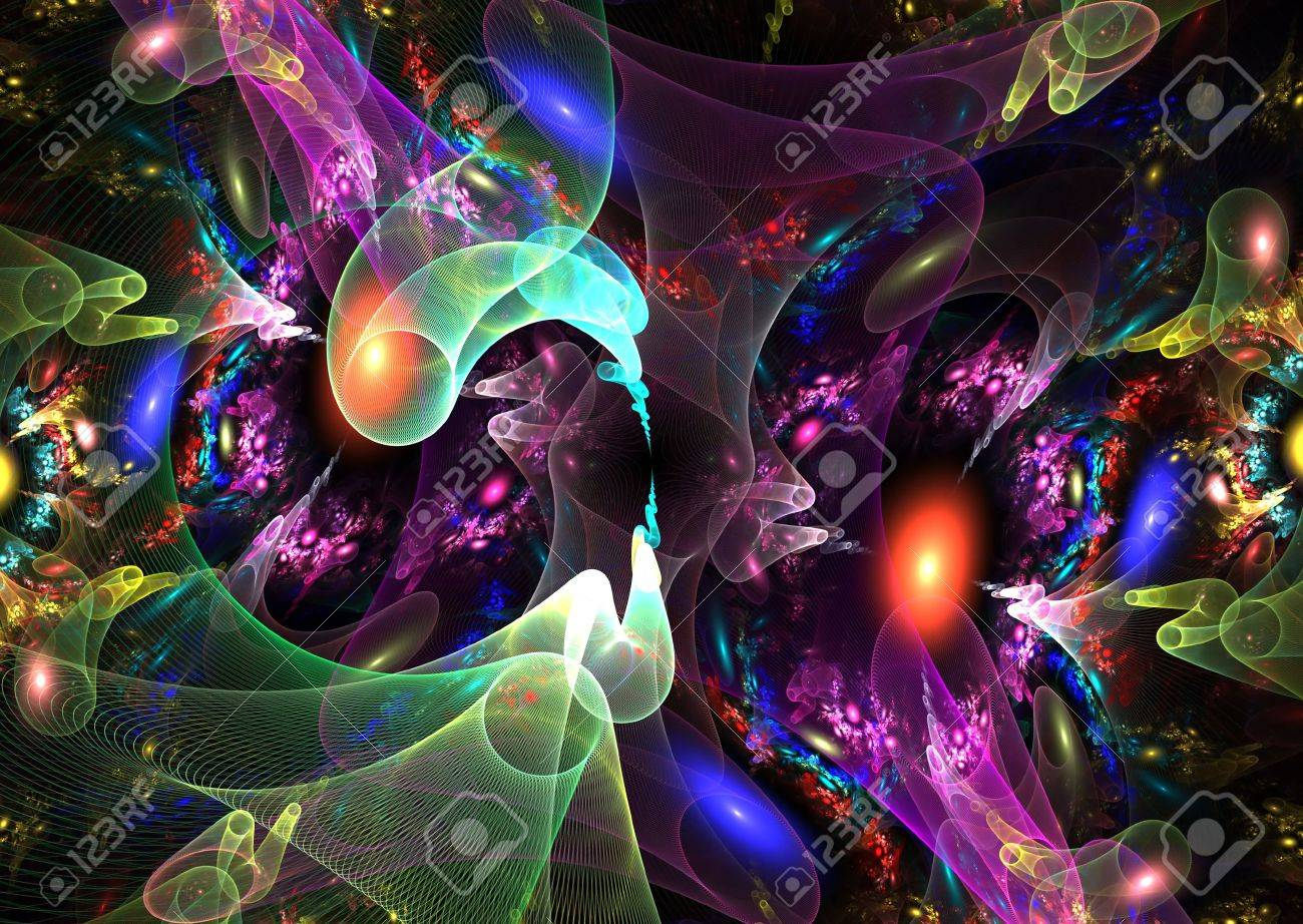 Amazing 3D rendered fractal: multicolor abstract shapes over black background. Stock Photo - 5391792