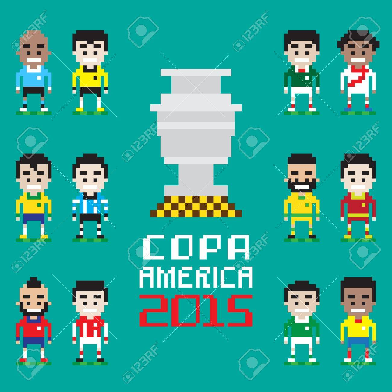 Vector Pixel Art Copa America 2015 Twelve International Teams