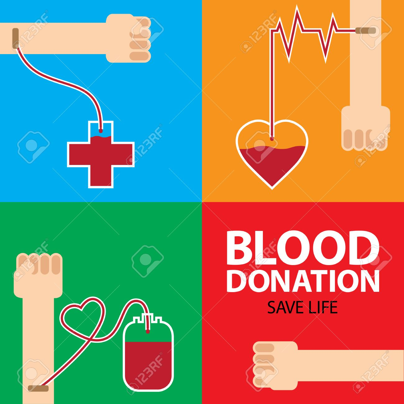 Poster design on blood donation - Blood Donation Poster Design With Colorful Background Stock Photo 44868603