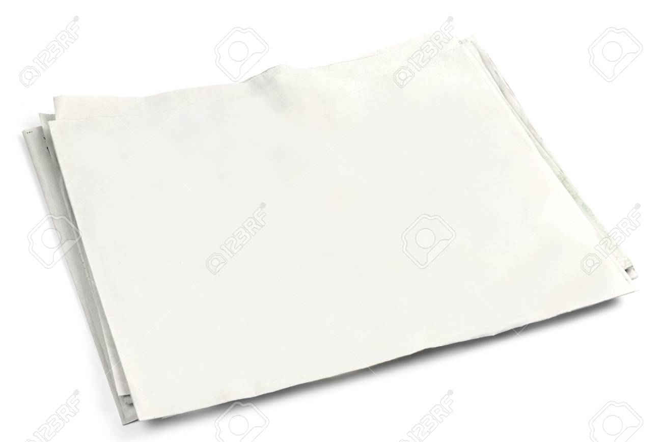 blank newspaper front page with copyspace on white background stock