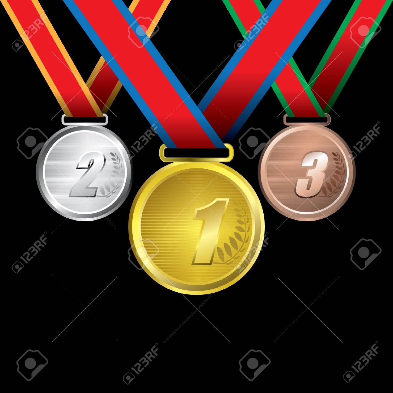 Awards as medals - gold, silver and bronze Stock Vector - 14179928