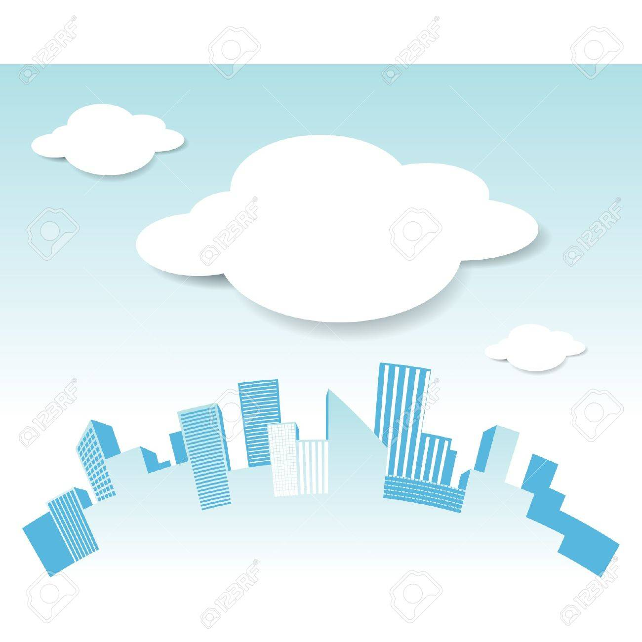 Vector city and cloud - 15558165