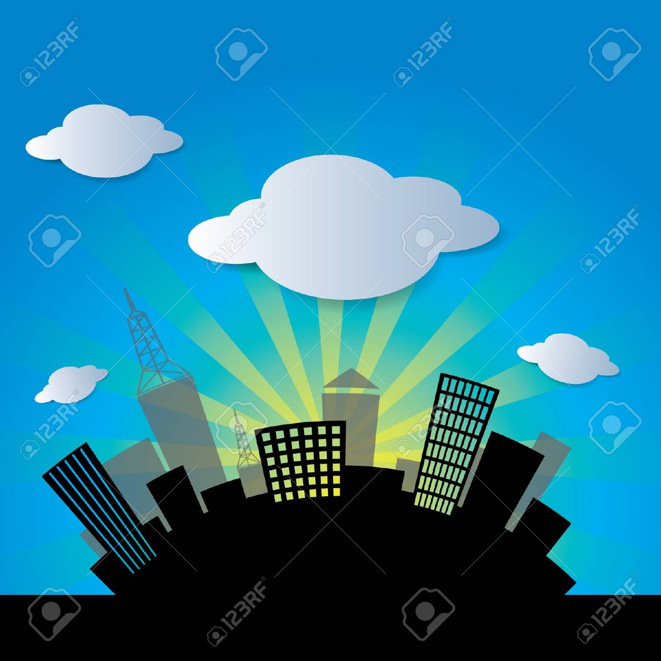 city and cloud Stock Vector - 16476420