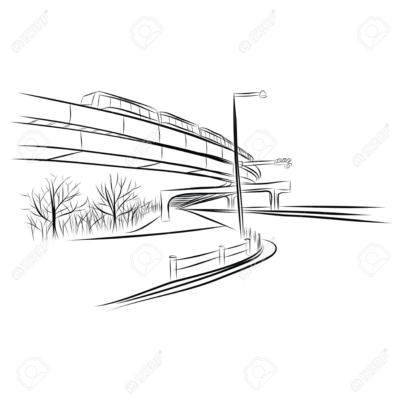 The abstract of Road under overpass sky train bridge hand drawn Stock Vector - 18657048