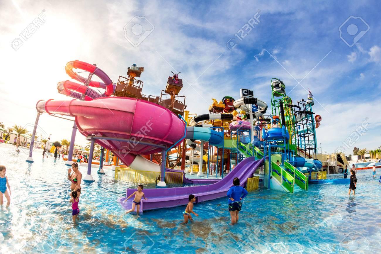 PATTAYA, THAILAND - December 29, 2014: Many traveler have fun in Cartoon Network Amazone Water Park, New Destination of Activity on December 29, 2014 in Pattaya Thailand. - 36654699