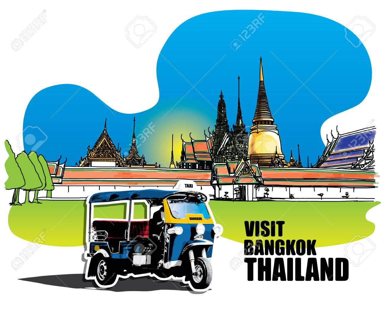 Tuk Tuk in front of Grand Palace - Wat Phra Kaew, Bangkok Thailand, Hand-Drawn - 43895912