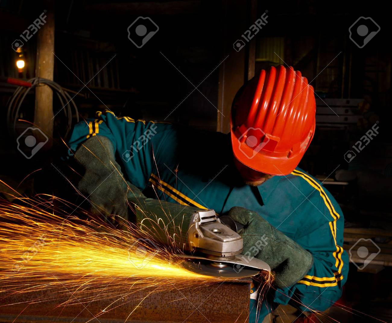 heavy industry manual worker with grinder Stock Photo - 3793002