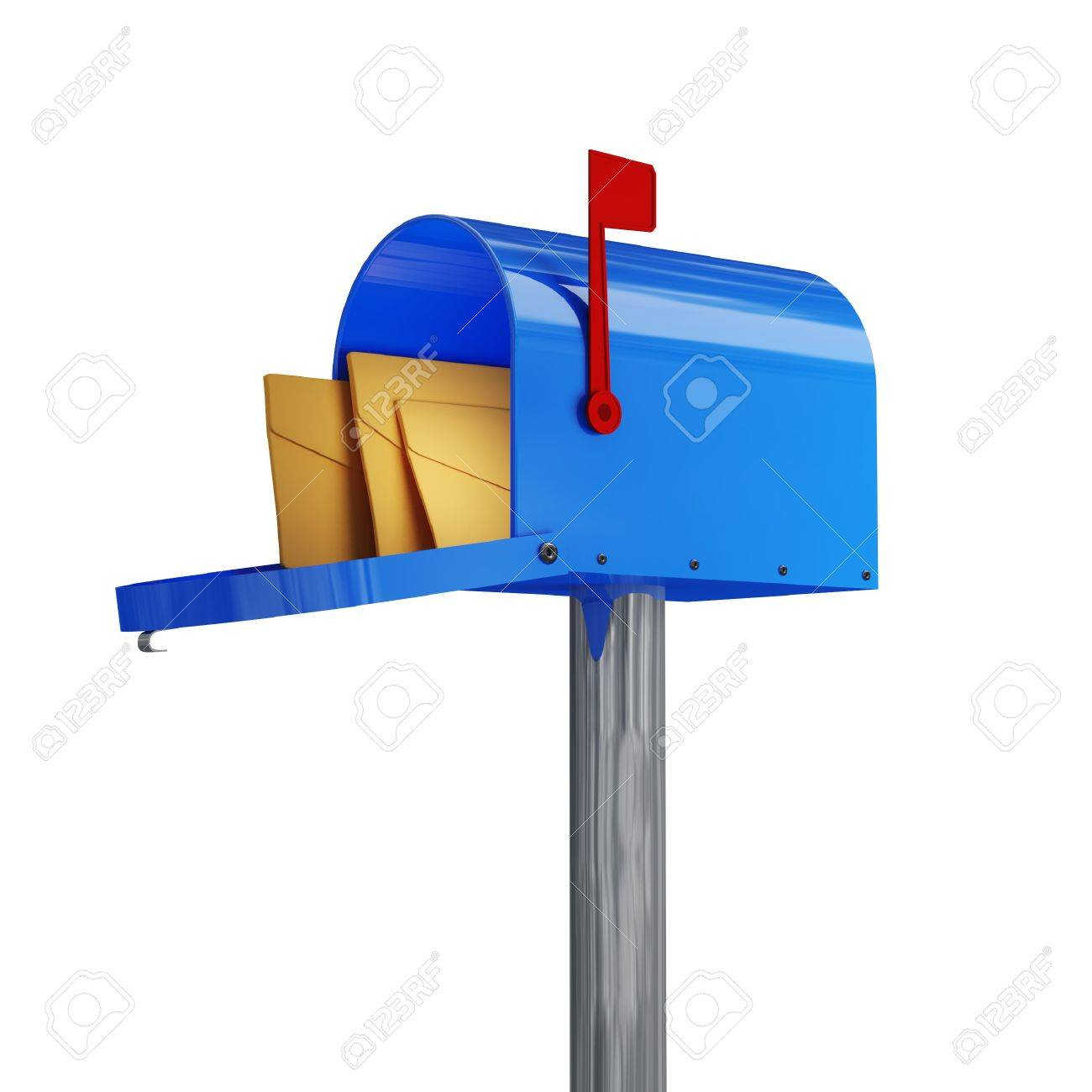 3d image of classic blue mail box with envelope Stock Photo - 4234889