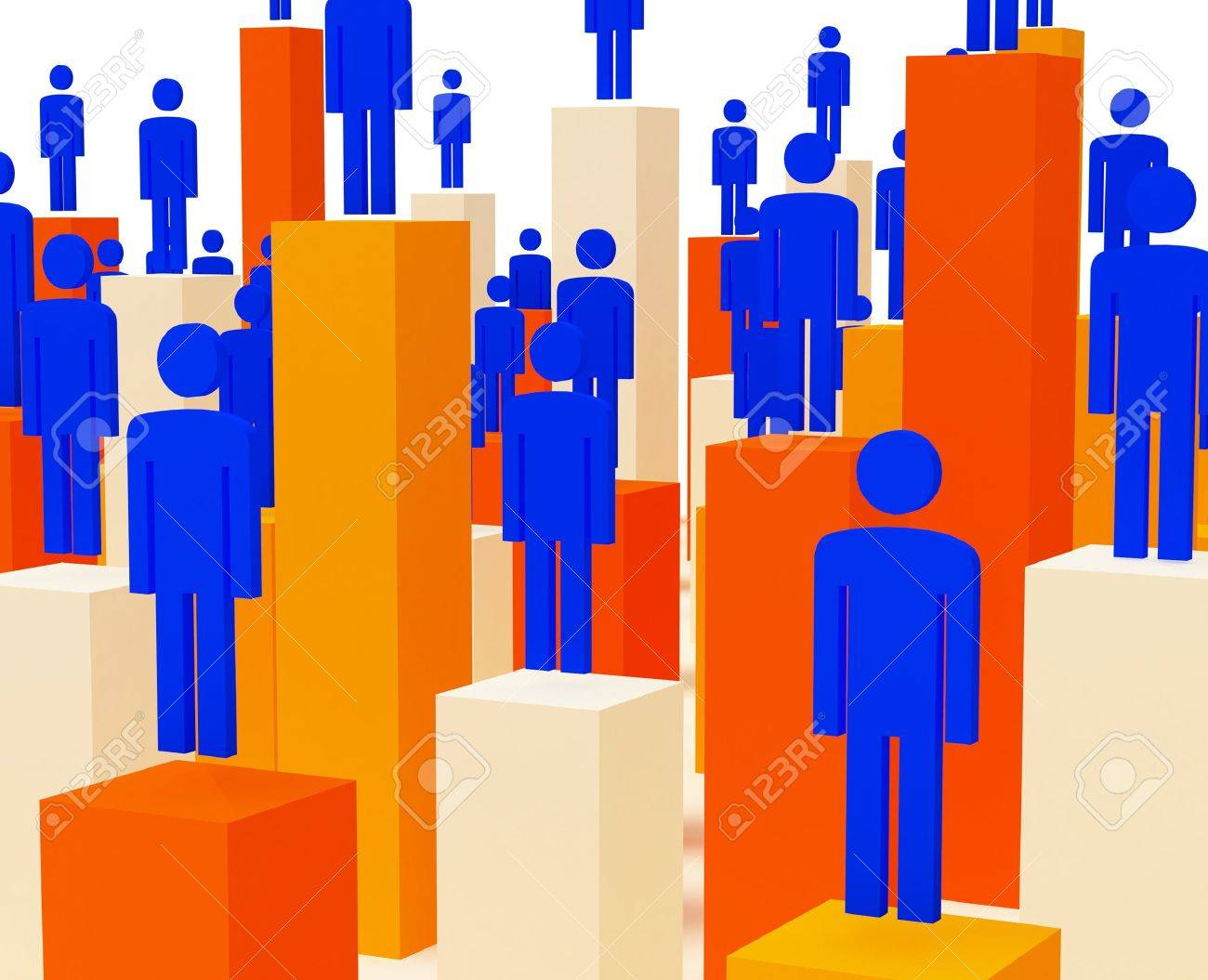 3d image of business people and stat methaporic image Stock Photo - 4721410