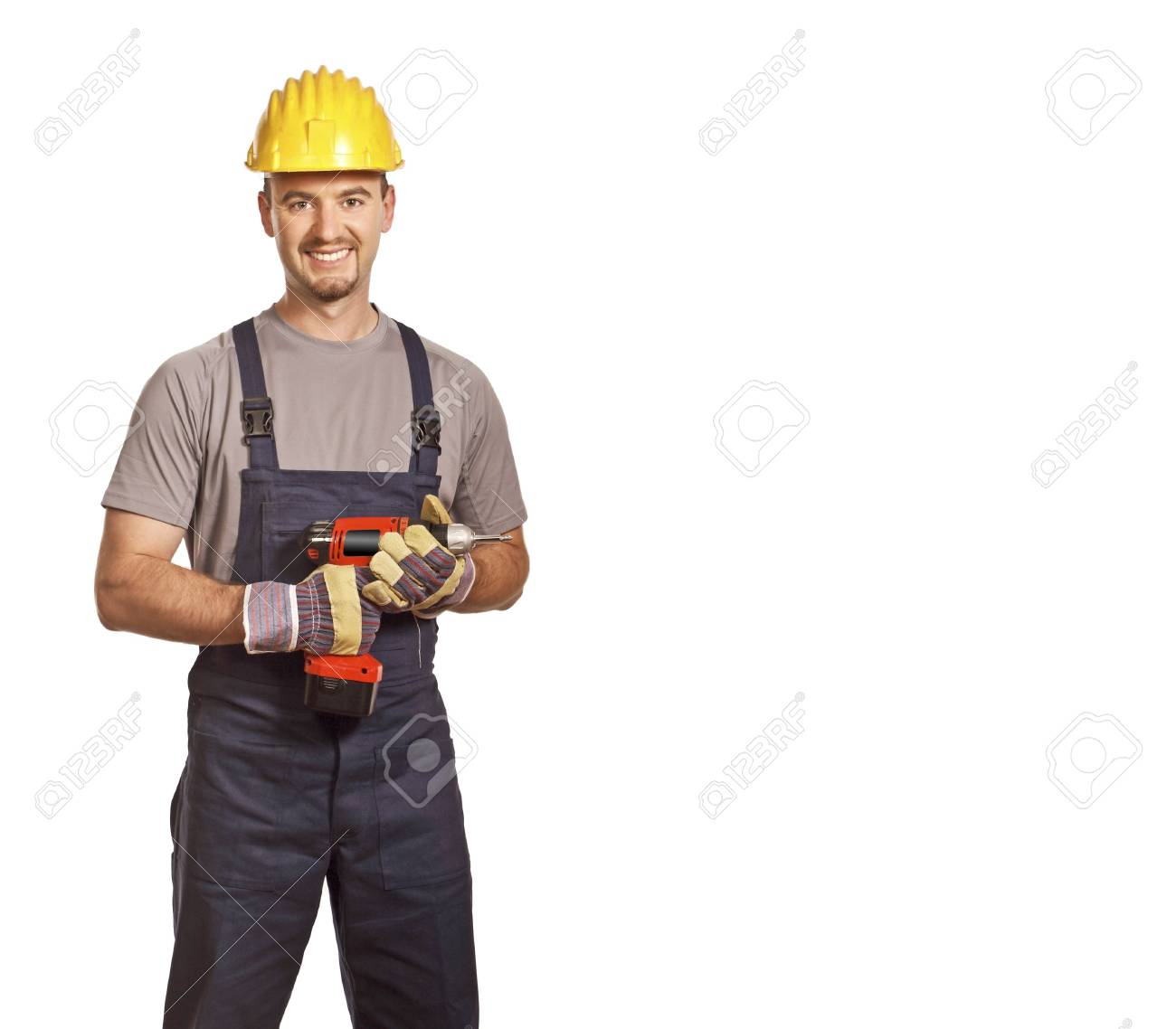 fine portrait of young caucasian handyman isolated on white Stock Photo - 5012322