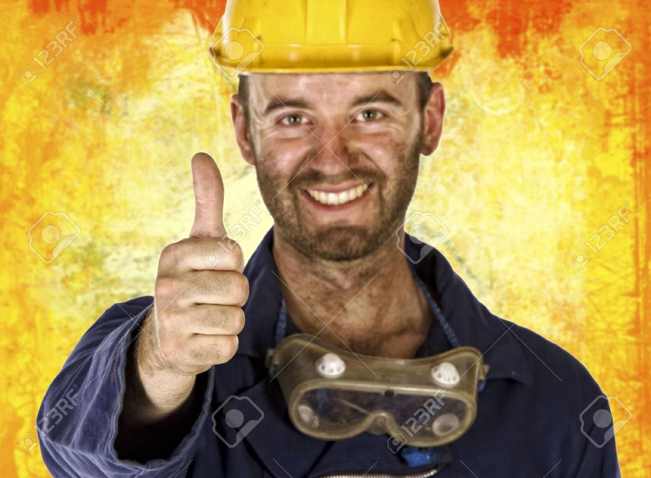 confident manual worker thumb up selective focus Stock Photo - 5128932