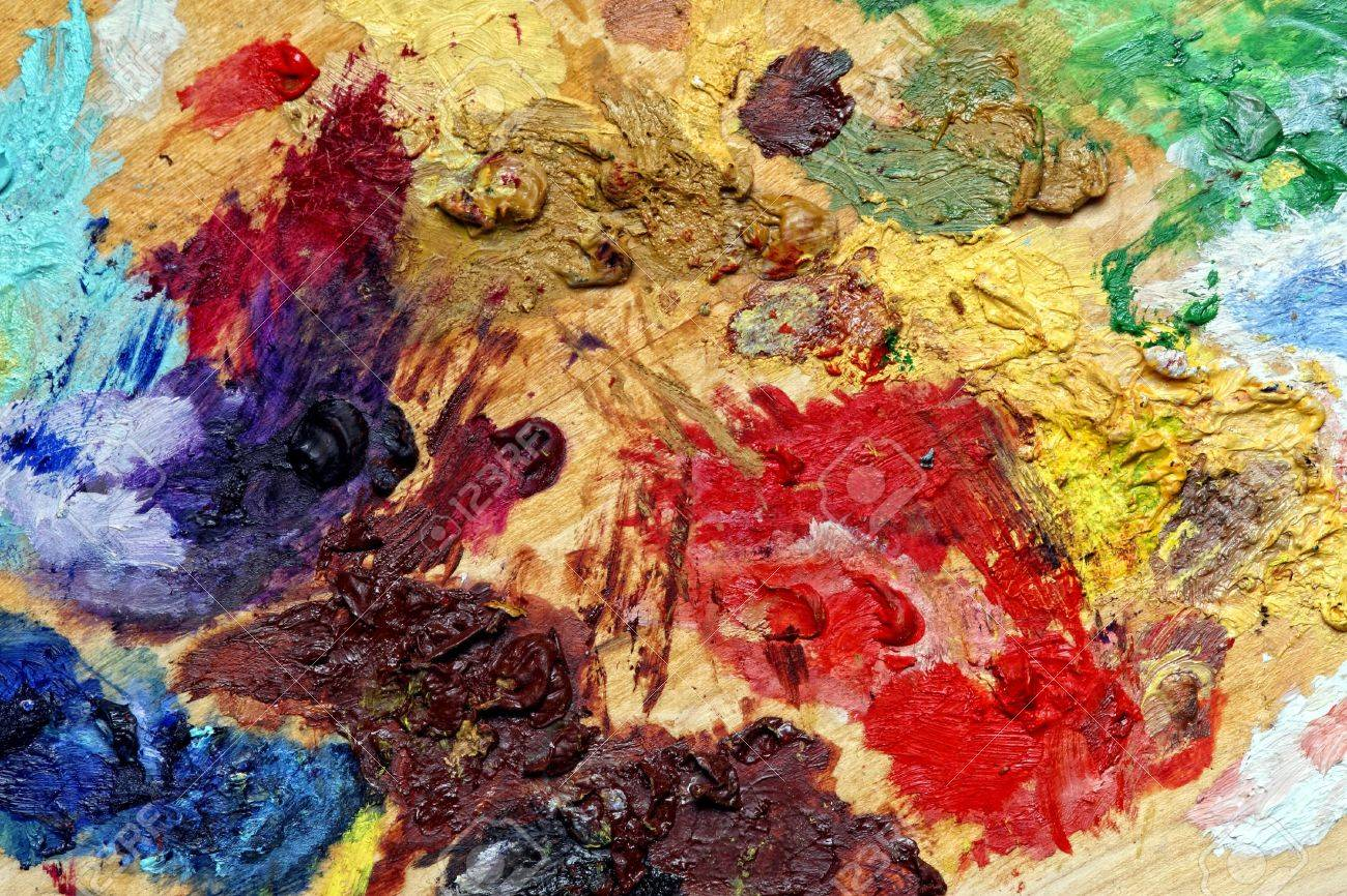Close Up Of Classic Art Palette Color Background Stock Photo