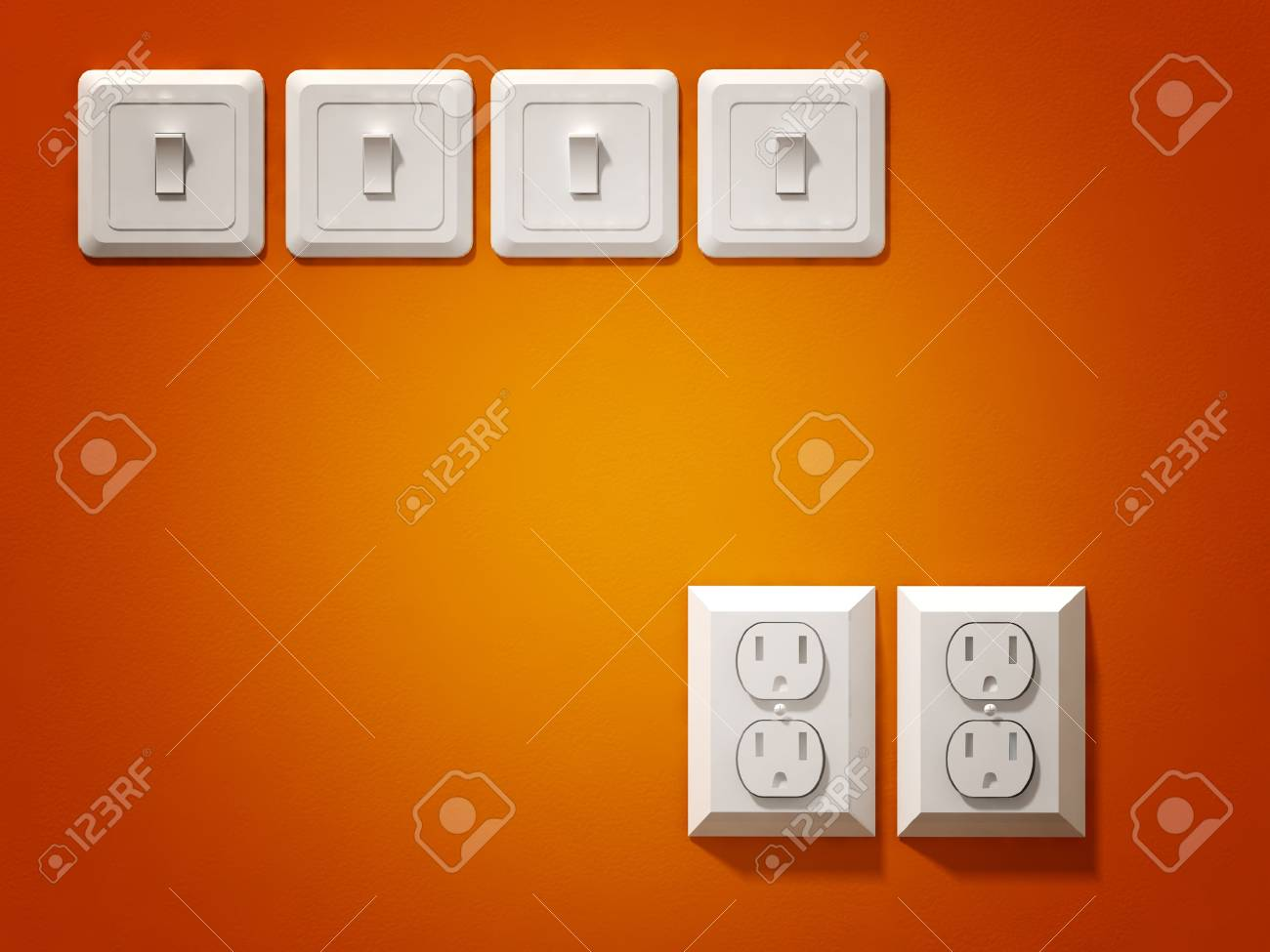 fine 3d image of white electric plug on orange wall Stock Photo - 5609093