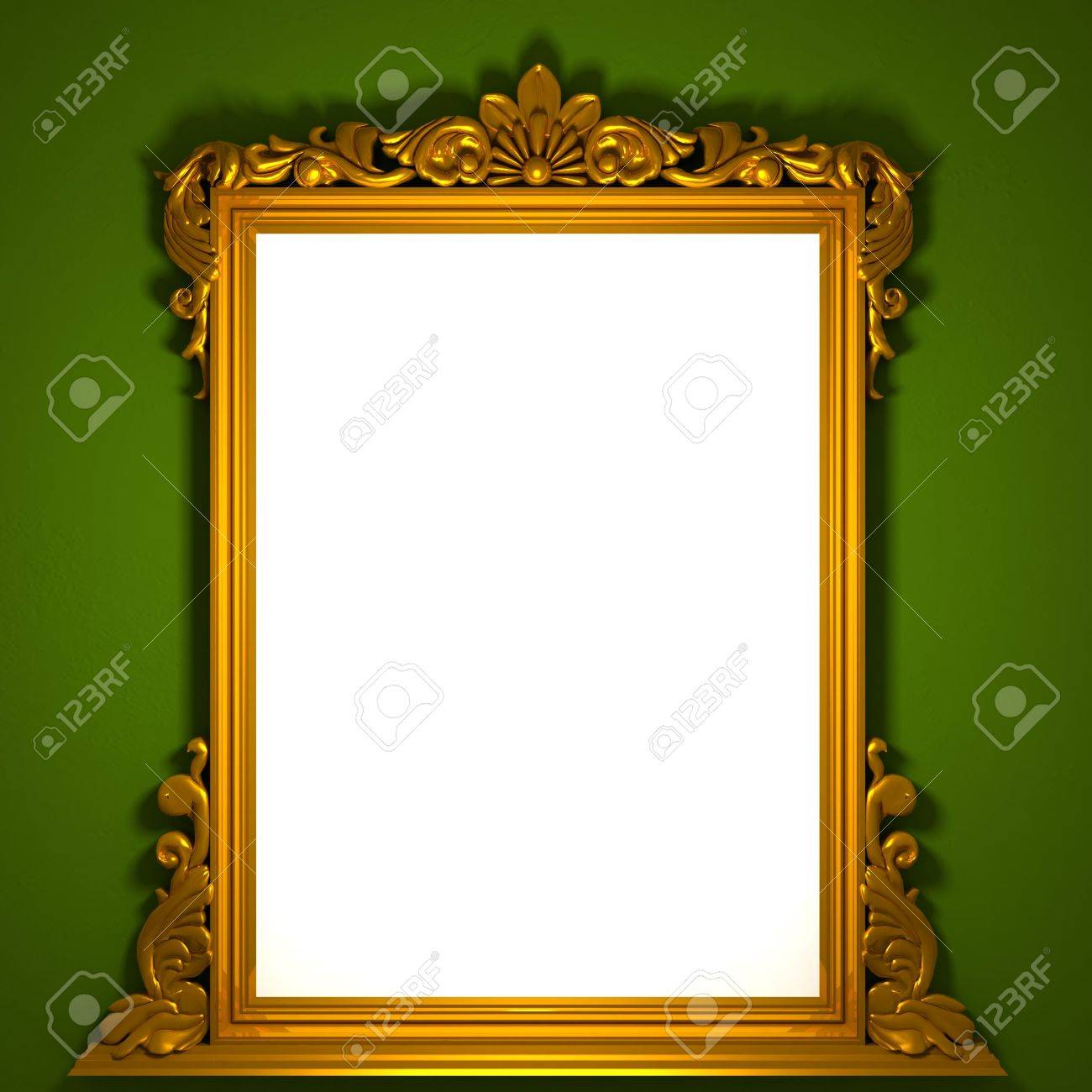 3d image of classic aged golden frame with white custom space stock photo 5699821
