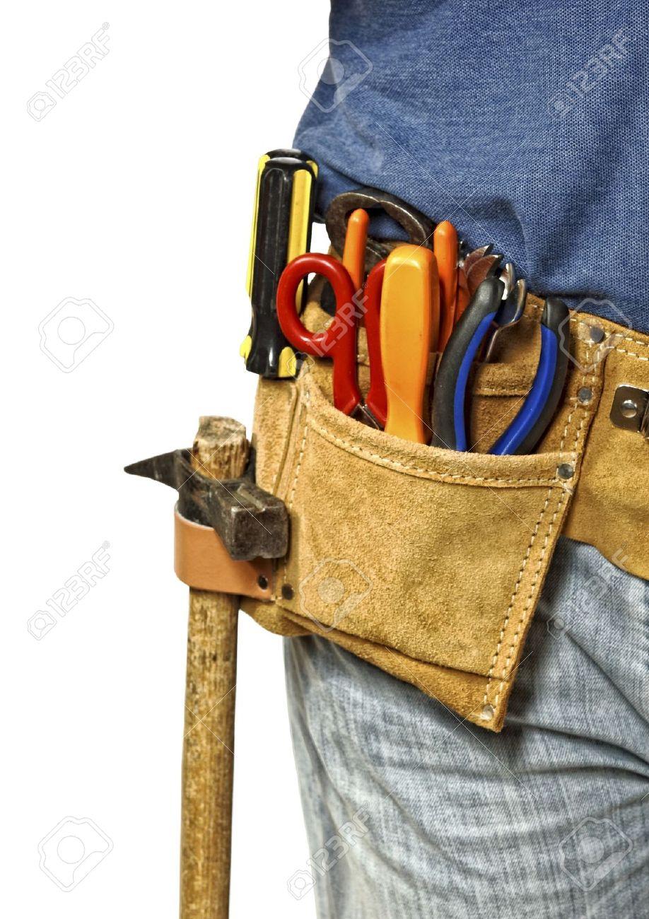 handyman tool, detail on leather belt isolated on white background Stock Photo - 5998800
