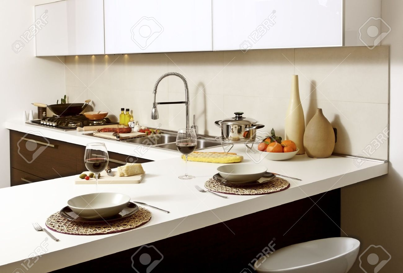Modern Kitchen Background image of modern kitchen ready for lunch background stock photo