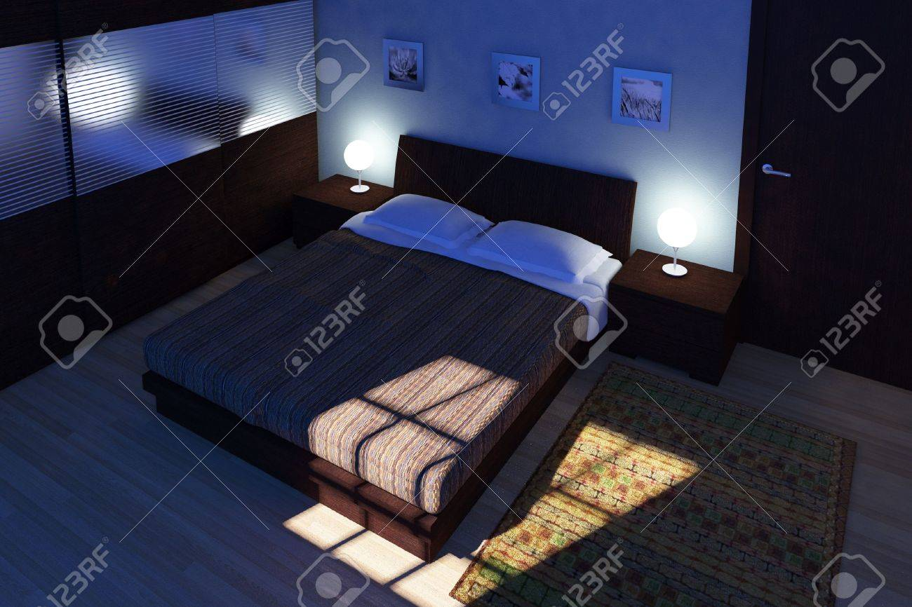 Bedroom at night time - Stock Photo Fine 3d Image Of Bedroom Night Time