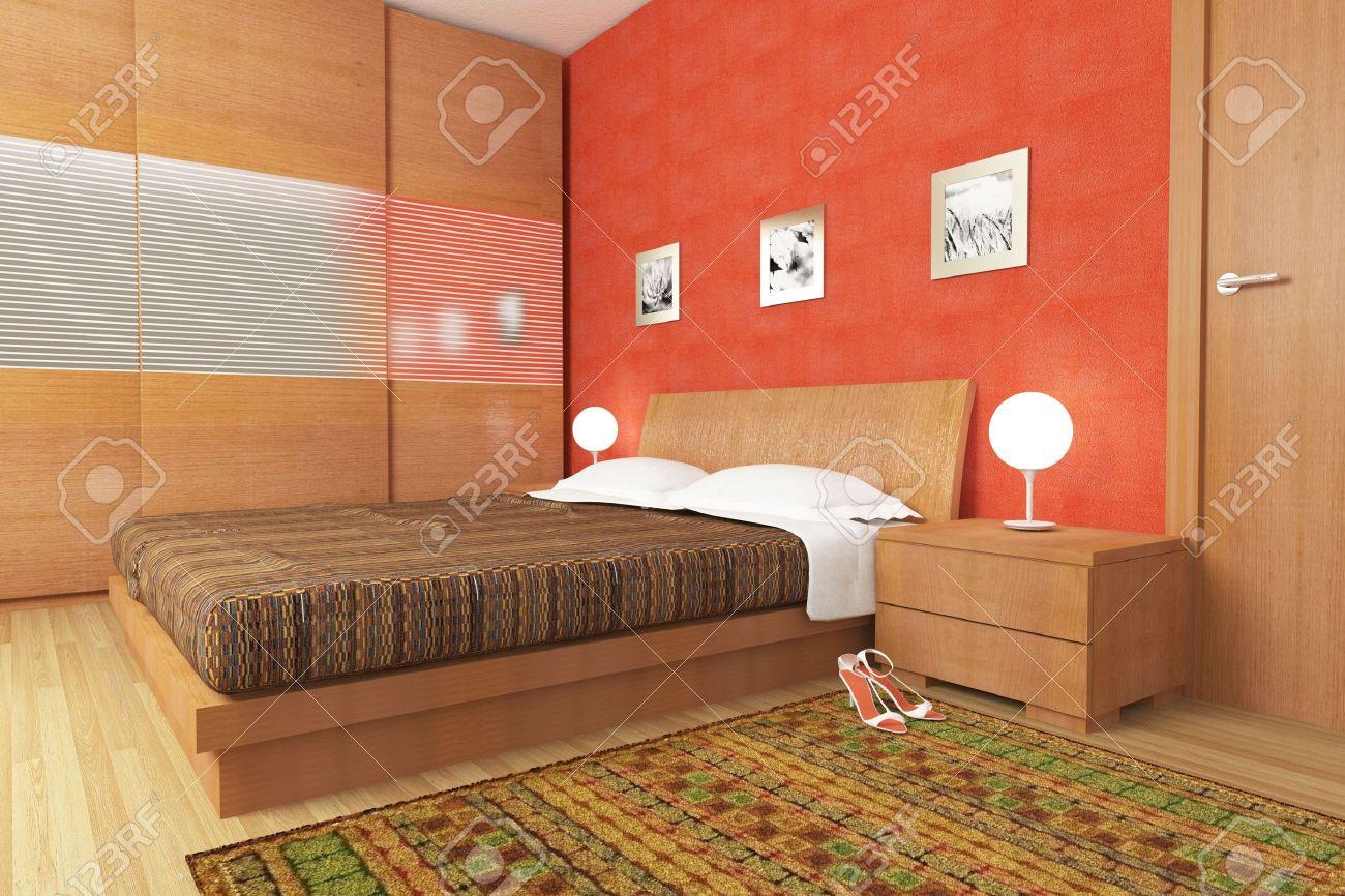 Illustration de la Chambre de bois moderne fine intérieur 3d