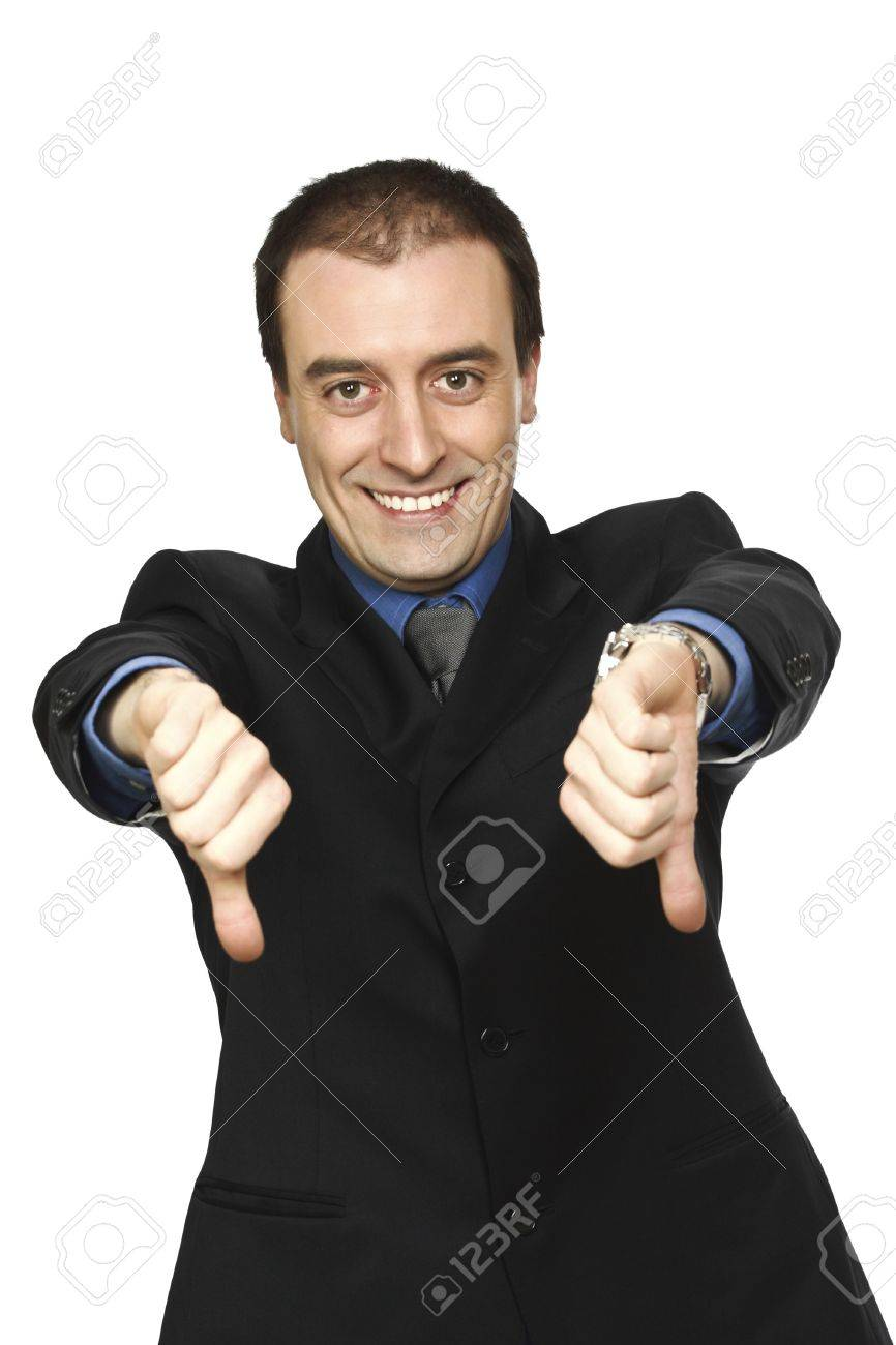 smiling man thumbs down fine portrait isolated on white Stock Photo - 6397099