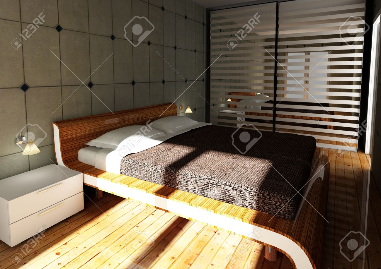 Modern bedroom with computer - 3d Image Of Modern Bedroom With Concrete Wall Computer Generated Stock Photo 6401910