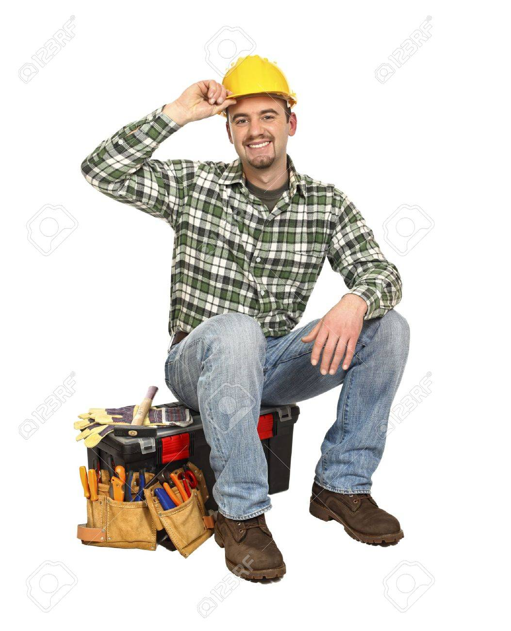 happy young worker take rest sit on his toolbox Stock Photo - 6542977