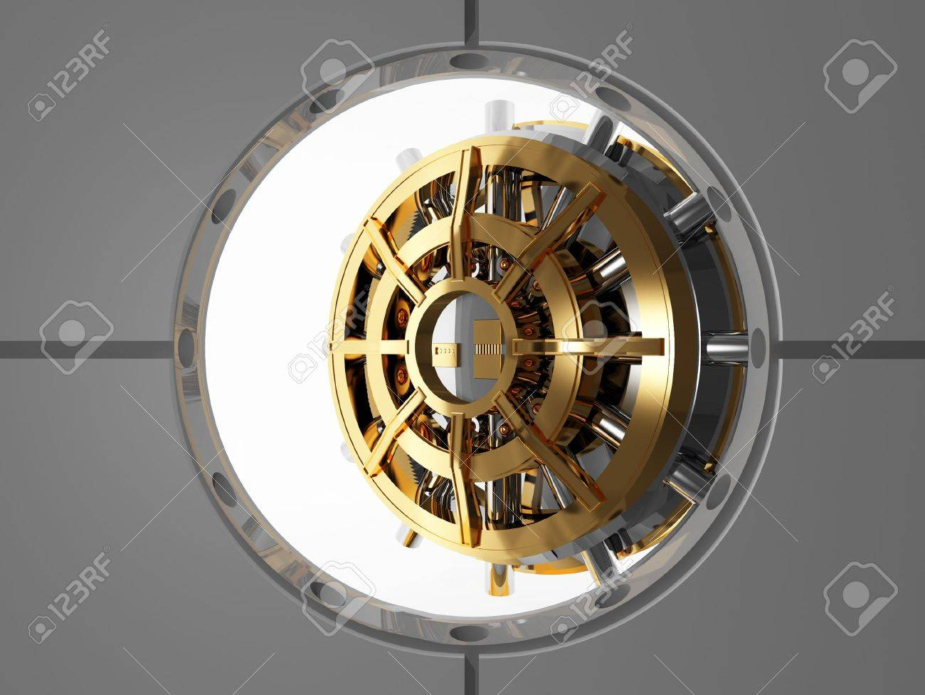 bank vault door 3d view from safety room Stock Photo - 6829834