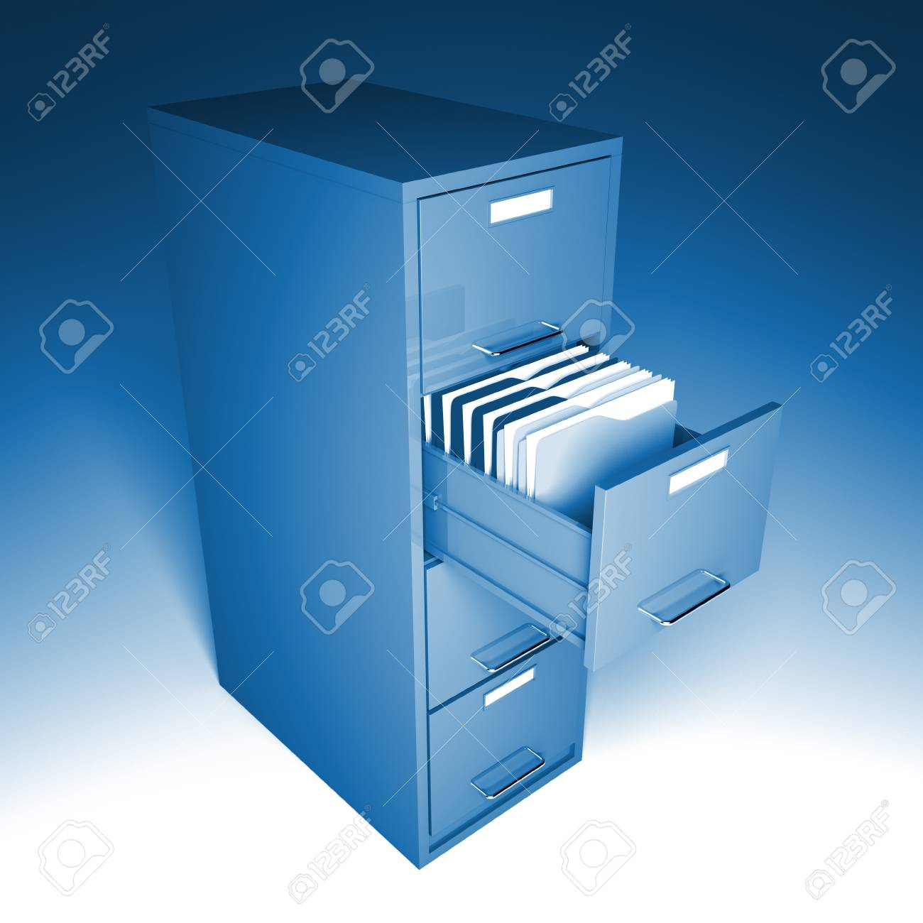 classic file cabinet 3d blue tone office image Stock Photo - 7168331