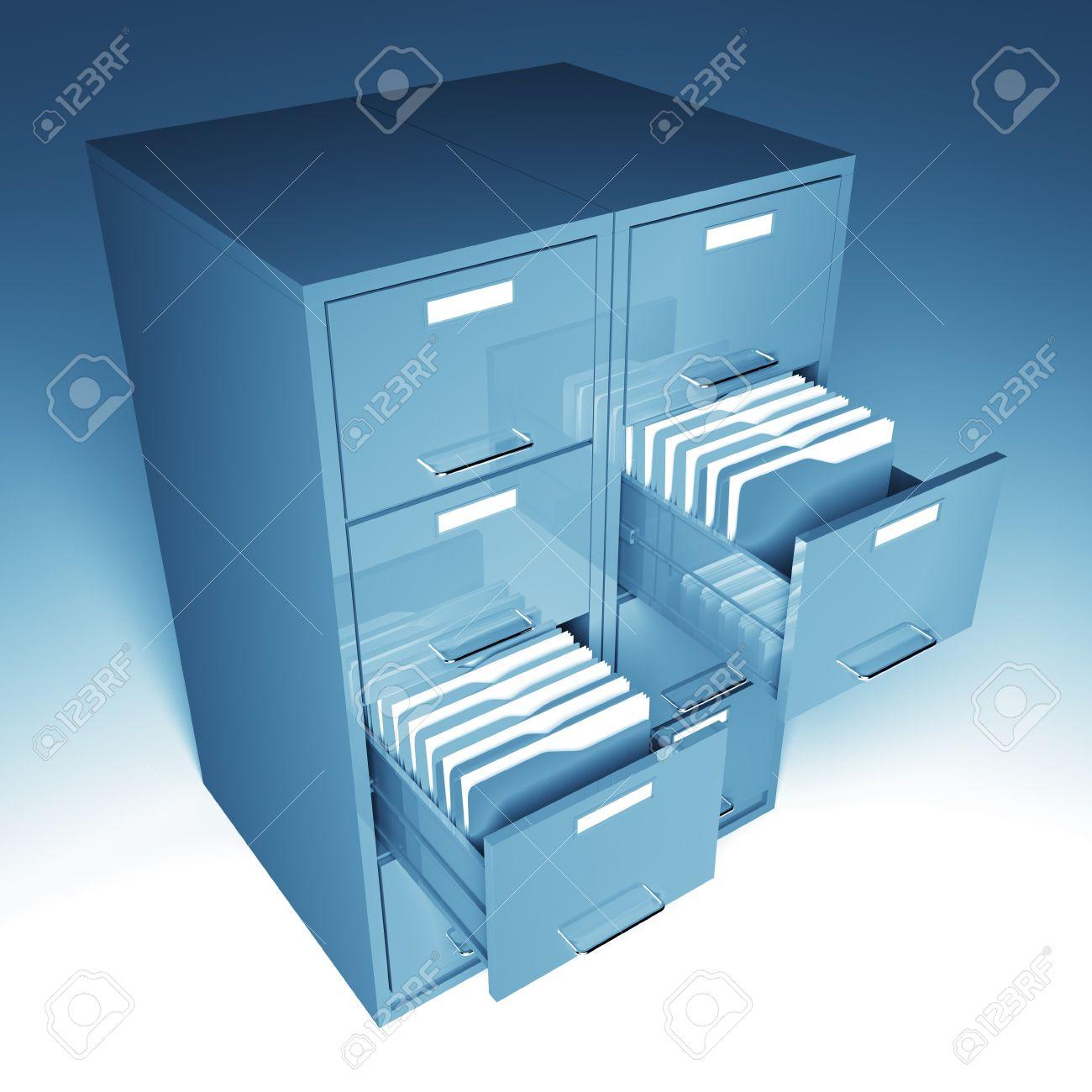 file and folder cabinet 3d business illustration Stock Illustration - 7168369