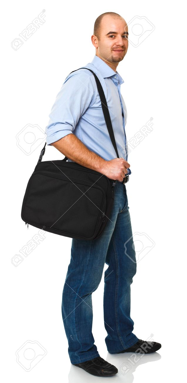 Happy Man With Laptop Bag Isolated On White Stock Photo, Picture ...