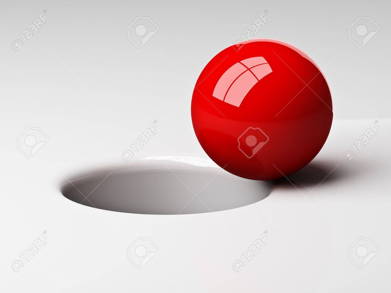 3d red ball near to fall in the hole Stock Photo - 8706255