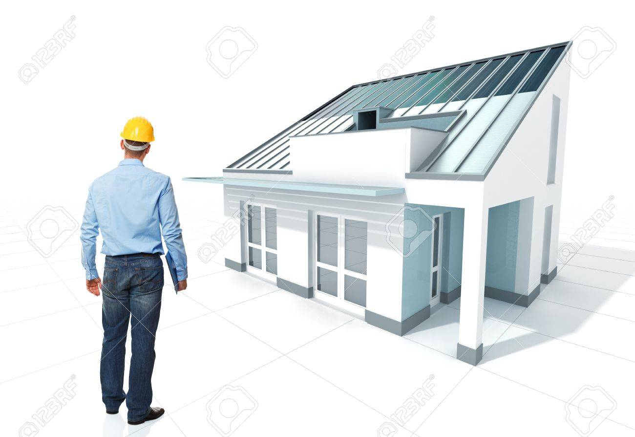 Standing Architect With Helmet And His 3d Project House Stock Photo    9079930